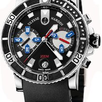 Ulysse Nardin Maxi Marine Diver pre-owned 42.7mm Black Chronograph Date Rubber