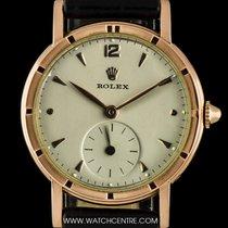 Rolex 10k Rose Gold Cream Dial Vintage Gents Wristwatch 8170