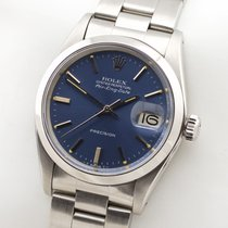Rolex Air King Date Stal 34mm Niebieski Bez cyfr
