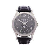 Patek Philippe Annual Calendar pre-owned 38.5mm Grey Moon phase Date Weekday Month Annual calendar