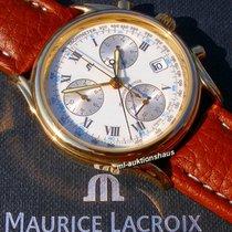 Maurice Lacroix Les Classiques Chronographe gebraucht 38mm Weiß Chronograph Datum Tachymeter Leder