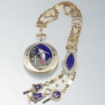 Louis XVI 18k gold enamel split pearls verge fuse Original...
