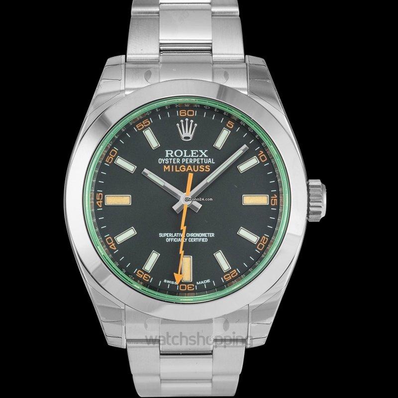 Green B Bezel Milgauss Black Domed Oyster Dial Rolex Crystal hQrCdsxt