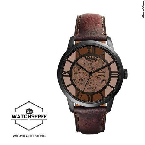 Brown Dark Watch Fossil Townsman Me3098 Leather Automatic pqSUVzM