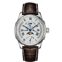Longines Master Collection pre-owned 44mm Moon phase Date GMT Leather