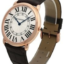 Cartier Ronde Louis XL 18k Rosegold Brown Leather Men Watch...