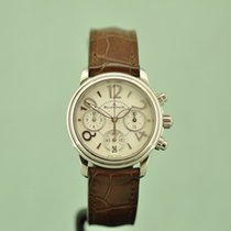 Blancpain Women pre-owned 34mm White Chronograph Flyback Date Crocodile skin