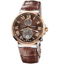 Ulysse Nardin Marine Chronometer 43mm подержанные 43mm Коричневый Дата Кожа аллигатора