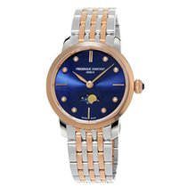 Frederique Constant Slimline Moonphase Gold/Steel 30mm Blue No numerals