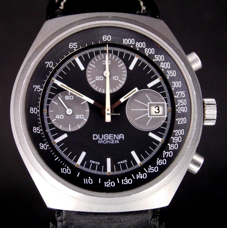 be52318d5f3 Dugena Monza Chronograph Handaufzug selten Valjoux 7765 for  719 for sale  from a Trusted Seller on Chrono24