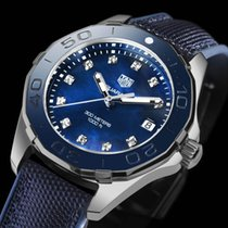 TAG Heuer Steel Quartz Blue No numerals 35mm new Aquaracer Lady