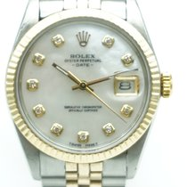 Rolex Oyster Perpetual Date 34 Two Tone Mother of Pearl Diamonds