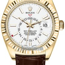 Rolex Yellow gold Automatic White 42mm new Sky-Dweller