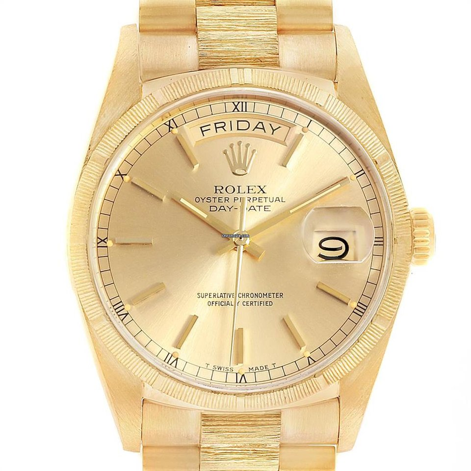 Rolex President Day Date 36 Yellow Gold Bark Finish Mens Watch 18078