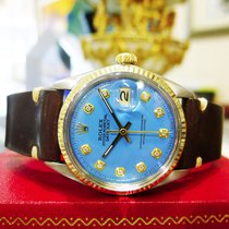 Rolex Oyster Perpetual Datejust Stainless Steel Gold Blue Face...