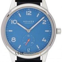 NOMOS Club Automat Datum pre-owned 41.5mm Blue Date Textile