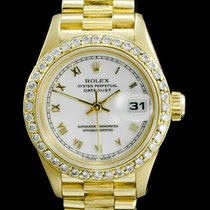 Rolex Or jaune Remontage automatique Blanc Romain 26mm occasion Lady-Datejust