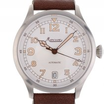 Mercure Aviatik 1915 Stahl Automatik Lederband 44mm