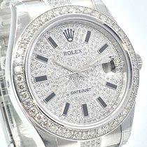 Rolex Datejust II Pavee Dial Weissgold Brillant Lünette Diamant