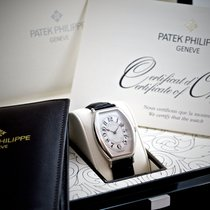 Patek Philippe Gondolo Men's Platinum Watch Black Leather Strap