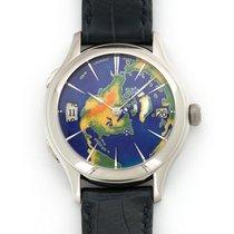 Laurent Ferrier White Gold Galet Traveler Enamel World Watch