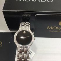 Movado Witgoud Quartz Zwart Geen cijfers 24mm nieuw Museum
