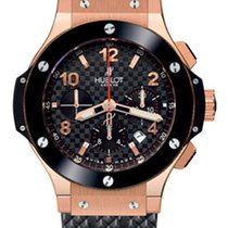 Hublot Big Bang 18K Rose Gold Chronograph Ceramic Rubber Men's...