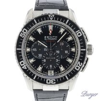 Zenith El Primero Stratos Flyback pre-owned 45.5mm Black Chronograph Flyback Date Crocodile skin