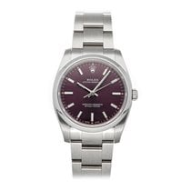 Rolex Oyster Perpetual 34 Acero 34mm Rojo Sin cifras