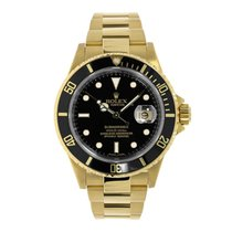 Rolex Submariner 18K Yellow Gold Black Dial Engraved Watch 16618