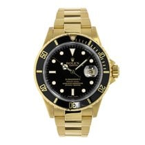 ロレックス Submariner 18K Yellow Gold Black Dial Engraved Watch 16618