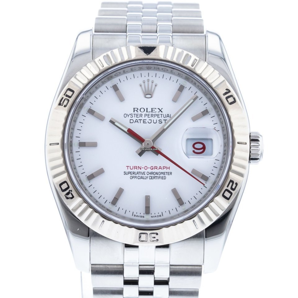 Rolex Datejust Turn,O,Graph 116264 Watch with Stainless Steel Bracelet and  18k White Gold Bezel