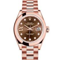 Rolex Or rose Remontage automatique Sans chiffres 28mm nouveau Lady-Datejust