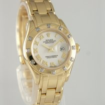 Rolex Lady-Datejust Pearlmaster Or jaune 29mm Blanc Romain