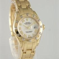 Rolex Lady-Datejust Pearlmaster Žluté zlato 29mm Bílá Římské