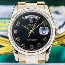 Rolex 118205 Day Date Oyster President Black Arabic Dial 18K...