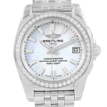 Breitling Galactic 36 Mop Dial Diamond Ladies Watch W74330 Unworn