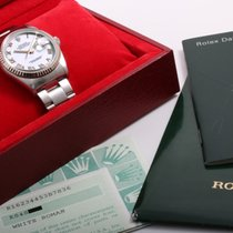 Rolex 2001 SS 36mm DATEJUST White Roman 18k Gold Bezel Box,...