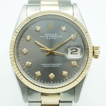 Rolex Date 34 Two Tone Grey Diamond Dial Oyster Band Vintage '63