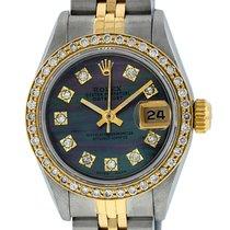 Rolex Womens Datejust Watch SS/18K Gold MOP Diamond Dial