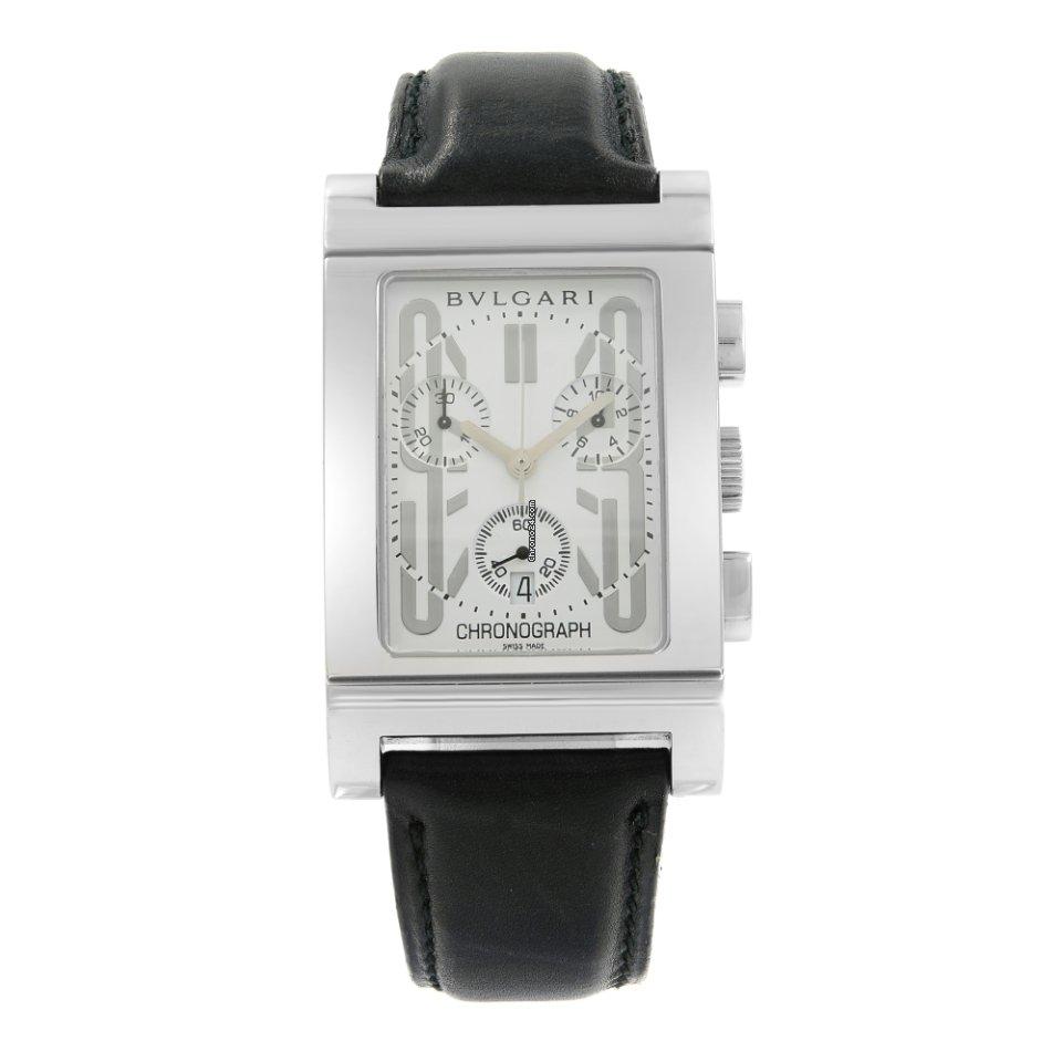 Rtc Mens Quartz Rectangle White Leather Dial Bulgari Rettangolo 49 S Steel Watch kXOiPuZ
