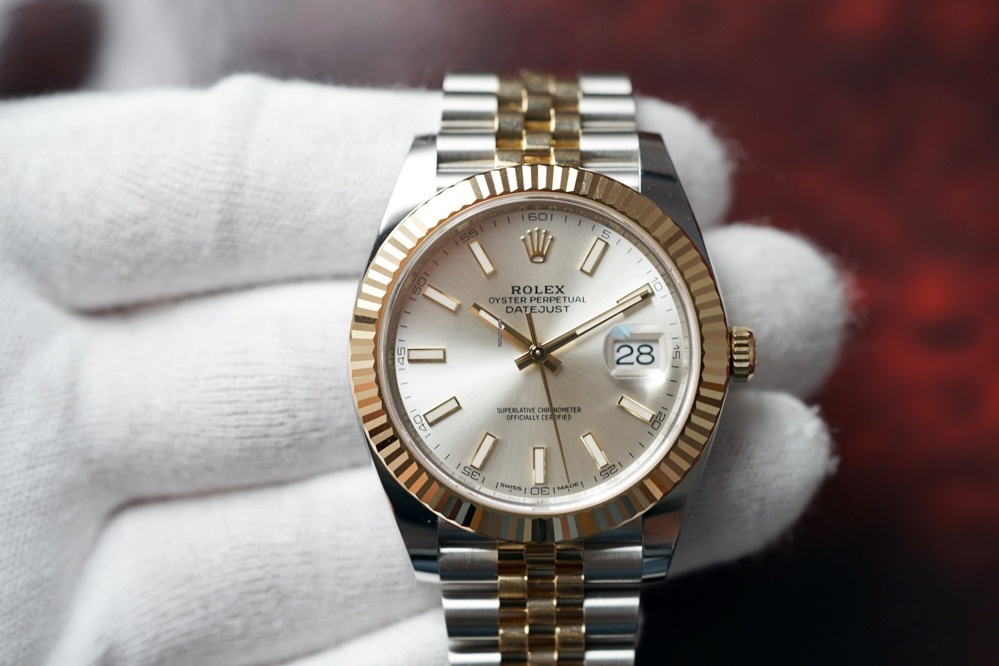 Rolex Two,Tone Datejust 41 Silver Index Dial Jubilee 126233