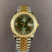 Rolex Datejust Gold/Stahl 36mm Grün Römisch