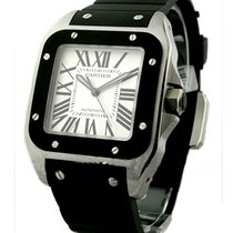 Cartier W20121U2 Santos 100 - Large Size in Steel with Rubber...