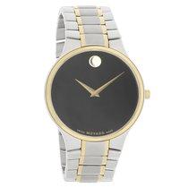Movado Serio Series Mens Black Dial TwoTone Swiss Quartz Watch...