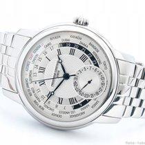 Frederique Constant Manufacture Worldtimer Steel 42mm Silver Roman numerals