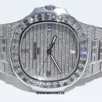 Patek Philippe Nautilus white Gold & Baguette Diamonds -...