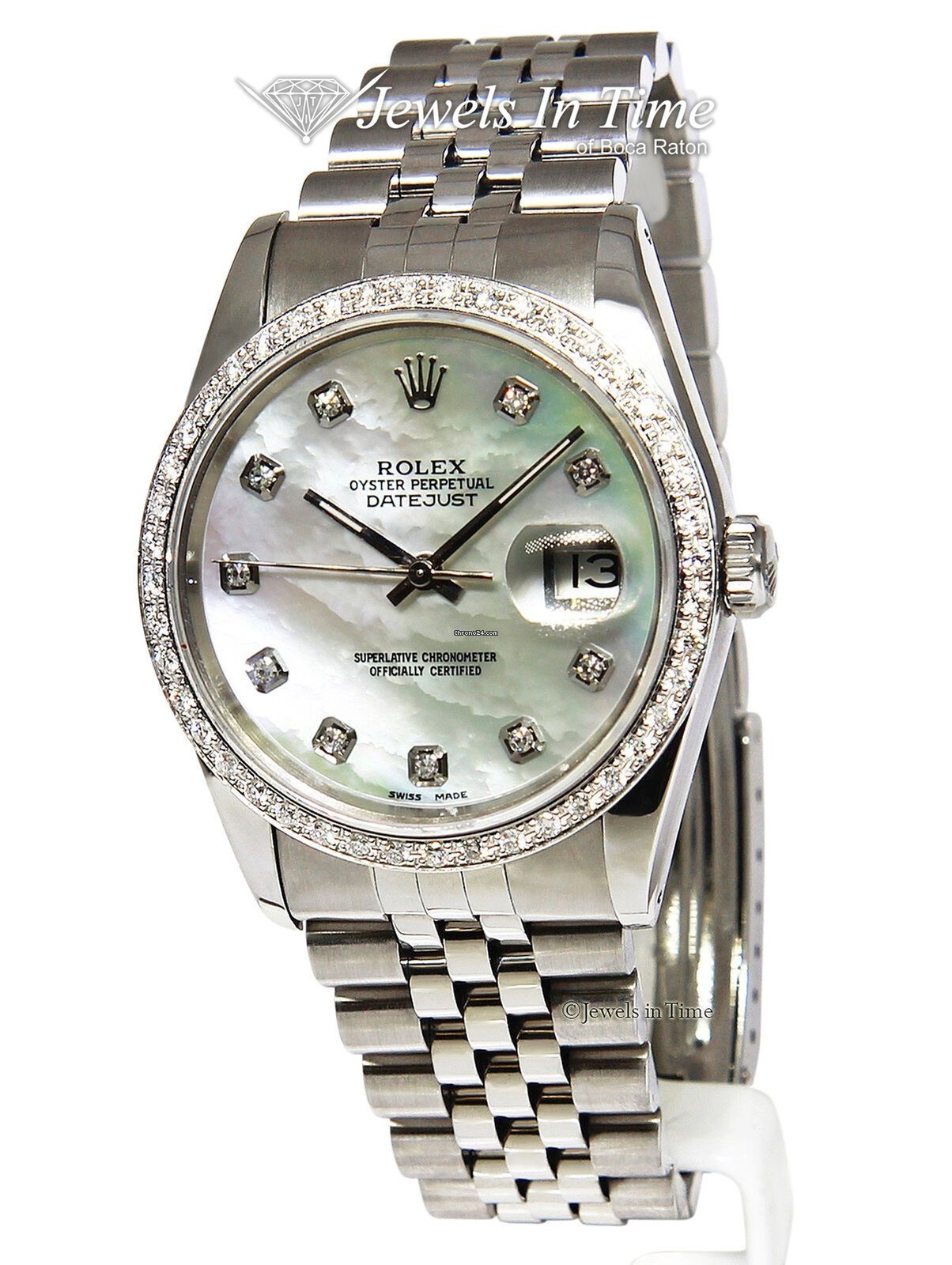 df3de9070dc5c Rolex Mens Datejust Stainless Steel MOP Diamond Automatic... for $5,950 for  sale from a Trusted Seller on Chrono24