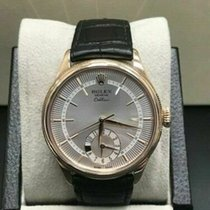 Rolex Cellini Dual Time Yellow gold 39mm Silver