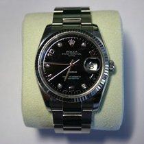 勞力士 Oyster Perpetual Date 鋼 34mm 黑色 阿拉伯數字